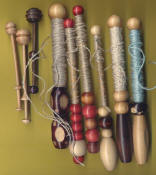 bobbins made of dowels and beads